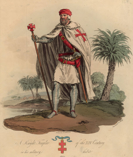 A soldier of the Knights Templar with the Cross of Lorraine