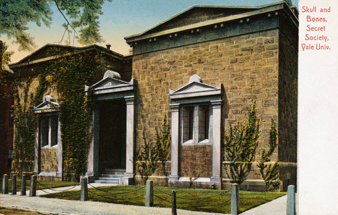 A postcard showing the Skull and Bones Society building known as The Tomb